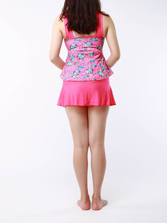 Pink Colorful Two-Piece Loose Printed Ruffle Band Belt Flat Bottom Open Back  Polyester and Elasticity Swimwear