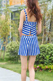 Blue and White Two-Piece Loose Contrast Stripe Sling Gather Flat Bottom Open Back Polyester and Elasticity Swimwear