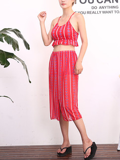 Red Three-Piece Slim Sling Contrast Printed Flat Bottom Ruffle Furcal Band Belt Polyester  Swimwear