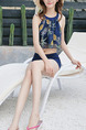 Navy Blue and Colorful Slim Printed Three-Piece Polyester and Elasticity Swimwear Sleeveless