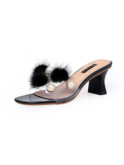 Beige Black PVC Open Toe Platform 5.5cm Chunky Heel Heels for Party