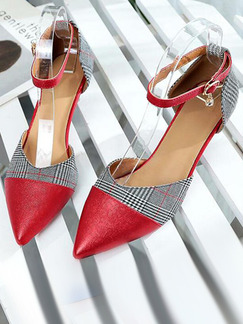 Red Leather Pointed Toe Platform 5cm Heels for Casual Party Office