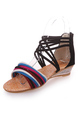 Black Colorful Suede Open Toe Platform 3.5cm Wedges for Casual Party