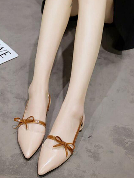 Beige and Brown Leather Pointed Toe Platform 1cm Flats for Party Office Casual