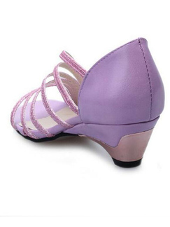 Purple Leather Open Toe Platform 4cm Low Chunky Heels for Casual Party Office Evening