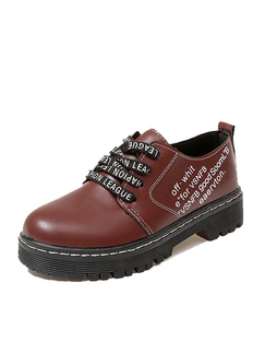Brown and Black Leather Round Toe Platform 3cm Lace Up Leather Shoes for Casual