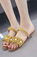 Yellow Suede Open Toe Platform 2cm Flats for Casual
