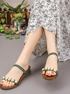 Green Suede Open Toe Platform 5cm Sandals for Casual