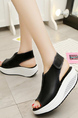 Black and White Leather Peep Toe Platform 5cm Wedges for Casual