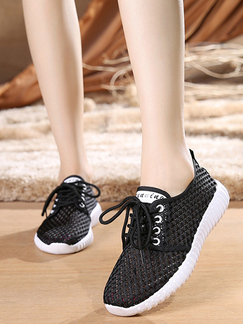 Black and White Polyester Round Toe Platform 3cm Lace Up Rubber Shoes for Casual Sporty
