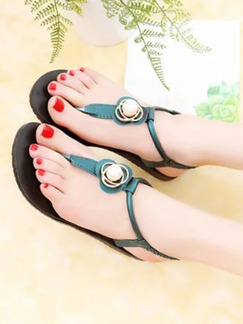 Green and Black Leather Open Toe Platform 1.5cm Sandals