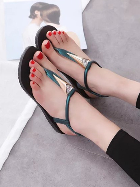 Green and Black Leather Open Toe Platform 1cm Sandals