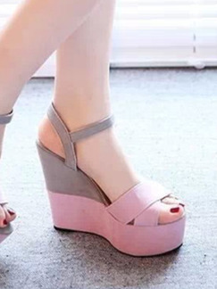 Grey and Pink Suede Peep Toe Platform Ankle Strap 11cm Wedges