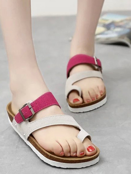 Red White and Brown Suede Open Toe Platform Instep Strap 3cm Sandals