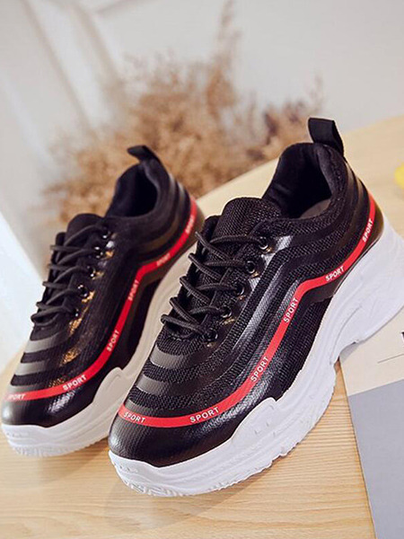 Black and White Red Leather Round Toe Platform 5cm Lace Up Rubber Shoes for Casual Sporty