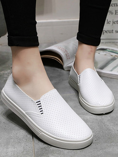 White Leather Round Toe Platform 3cm Rubber Shoes for Casual
