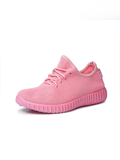 Pink Polyester Round Toe Platform 3cm Lace Up Rubber Shoes for Casual Sporty Gym