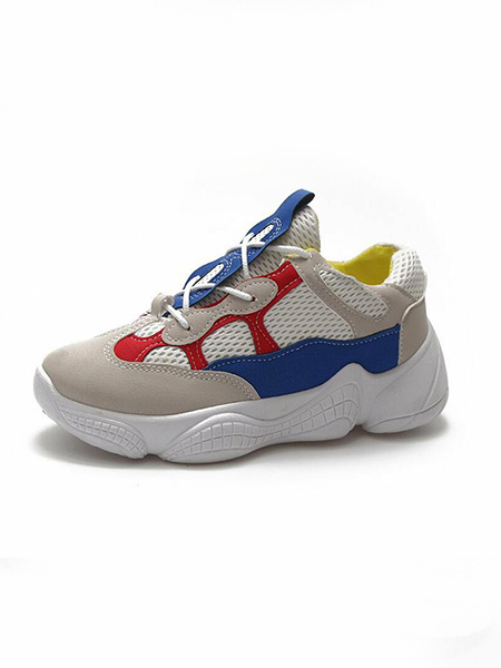 Colorful Leather Round Toe Platform 5cm Lace Up Rubber Shoes for Casual Sporty