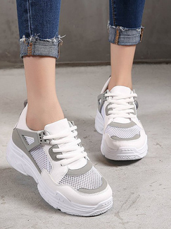 00a58e89106 White and Grey Leather and Mesh Round Toe Platform 4.5cm Lace Up Rubber  Shoes for