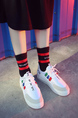 White Colorful Leather Round Toe Platform 3cm Lace Up Rubber Shoes for Casual