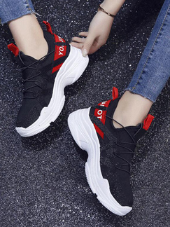 Black and White Red Polyester Round Toe Platform 5cm Lace Up Rubber Shoes for Casual Sporty