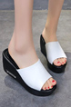 Black and White Leather Open Toe Platform 7cm Wedge for Casual