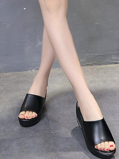 Black Leather Open Toe Platform 7cm Wedge for Casual