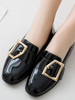 Black Leather Round Toe Platform 3cm Low Chunky Heels for Casual Office Party