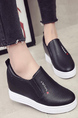 Black and White Leather Round Toe Platform 6cm Leather Shoes for Casual