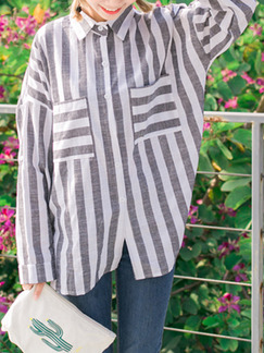 Grey and White Loose Shirt Stripe Long Sleeve Top for Casual