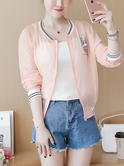 Pink Loose Contrast Linking Ribbed See-Through Located Printing Long Sleeve Top for Casual