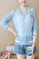 Blue Loose Contrast Linking Ribbed See-Through Located Printing Long Sleeve Top for Casual