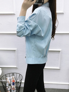 Blue Loose Lapel Pleated Buckled Located Printing Long Sleeve Top for Casual