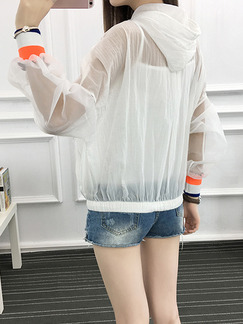 White Hooded Linking Contrast Ribbed Adjustable Waist See-Through Bat Zipped Long Sleeve Top for Casual