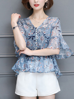 Blue Colorful Chiffon Printed V Neck Ruffled Floral Plus Size Top for Casual Party