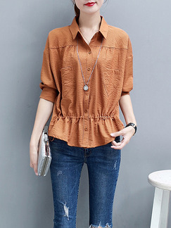 Apricot Slim Shirt Stripe Elastic Plus Size Top for Casual Office Party