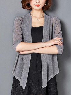 Grey Loose Cardigan Shiner Asymmetrical Hem Plus Size Top for Casual Office Party