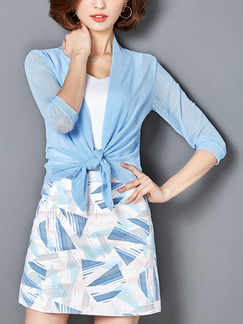 Blue Loose Cardigan Shiner Asymmetrical Hem Plus Size Top for Casual Office Party