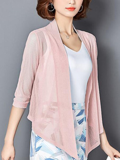 Pink Loose Cardigan Shiner Asymmetrical Hem Plus Size Top for Casual Office Party