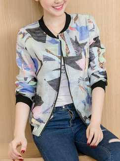 Colorful Loose Plus Size Printed Contrast Linking Zipped Cardigan Top for Casual