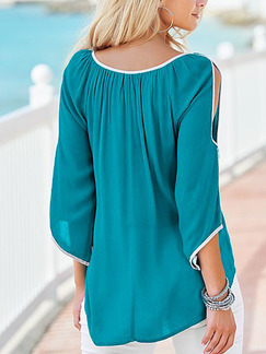 Blue Green Chiffon Contrast Linking Off-Shoulder Pleated Asymmetrical Hem Top for Casual