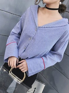 Blue Loose Shirt Stripe Contrast Linking Furcal Lapel Long Sleeve Top for Casual Office