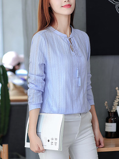 Blue Plus Size Slim Stand Collar Figured Band Belt  Top for Casual Office Evening