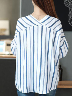 White and Blue Plus Size Loose Shirt Stripe V Neck Top for Casual