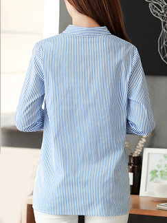 Blue and White Stripe Plus Size Slim Stripe Embroidery Long Sleeve Top for Casual Office