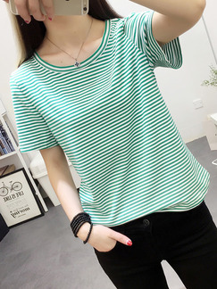 Green and White Knitted Plus Size Loose Stripe Top for Casual