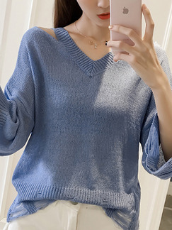 Blue Knitted Loose V Neck Holes Top for Casual