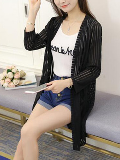 Black Knitted Cardigan Stripe Long Sleeve Top for Casual