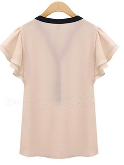 Pink Chiffon Slim V Neck Contrast Linking Ruffled Top for Casual Party