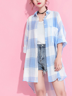 White and Blue Literary Loose Shirt Grid Asymmetrical Hem Top for Casual Party